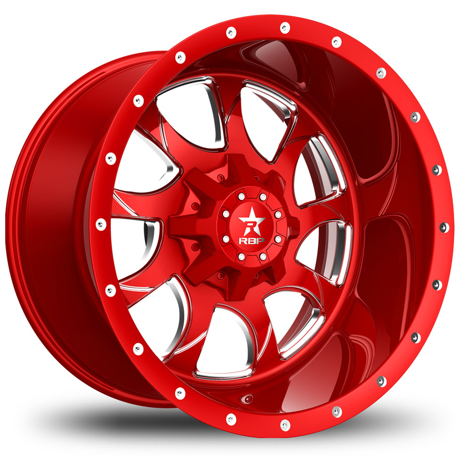 RBP Peacemaker Monoblock Custom Red and Chrome Finish Wheels