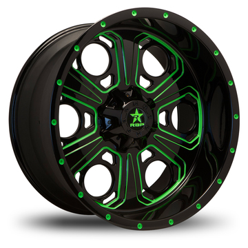 RBP Revolver Custom Black and Green Finish Wheels