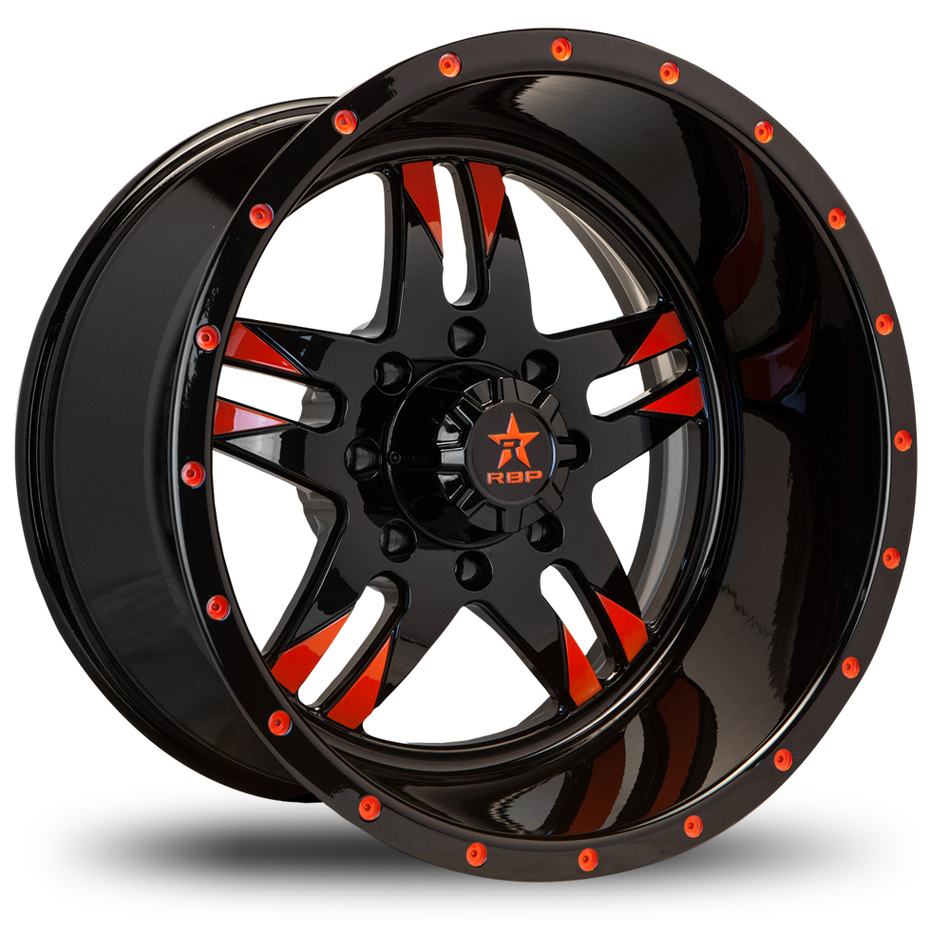 RBP Savage Monoblock Custom Black and Orange Finish Wheels