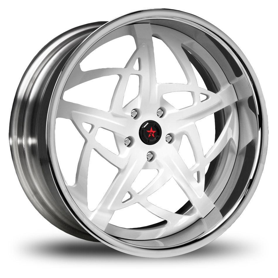 RBP Spartan 3 Piece Custom White Face with Stainless Steel Lip Finish  Wheels