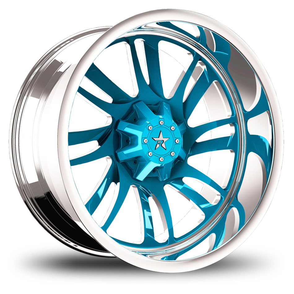 RBP Swat Monoblock Custom Chrome and Blue Finish Wheels