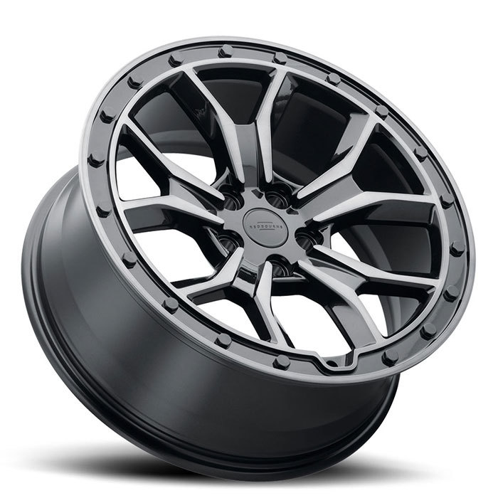 Redbourne Morland Wheels Gloss Metallic Black with Brushed Tinted Face and Black Bolts Finish