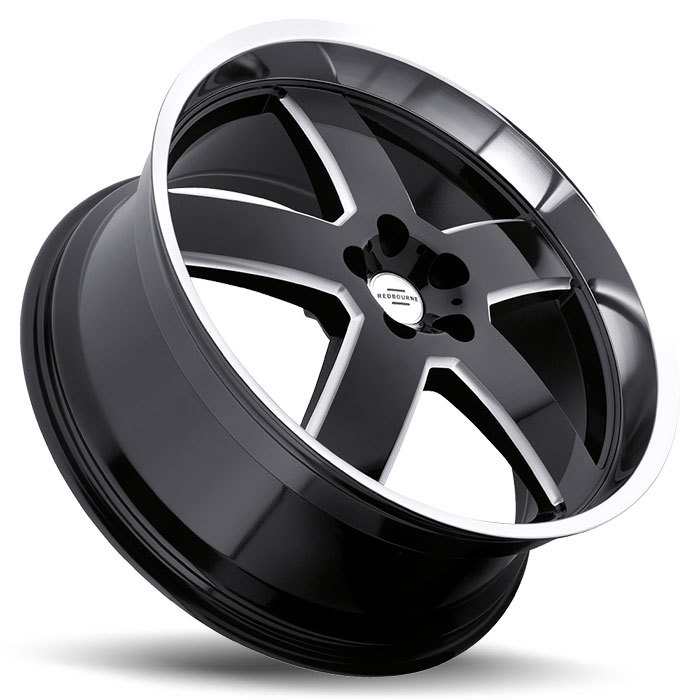 Redbourne Sovereign Gloss Black with Milled Spokes and Mirror Lip Land Rover Wheels - Lay