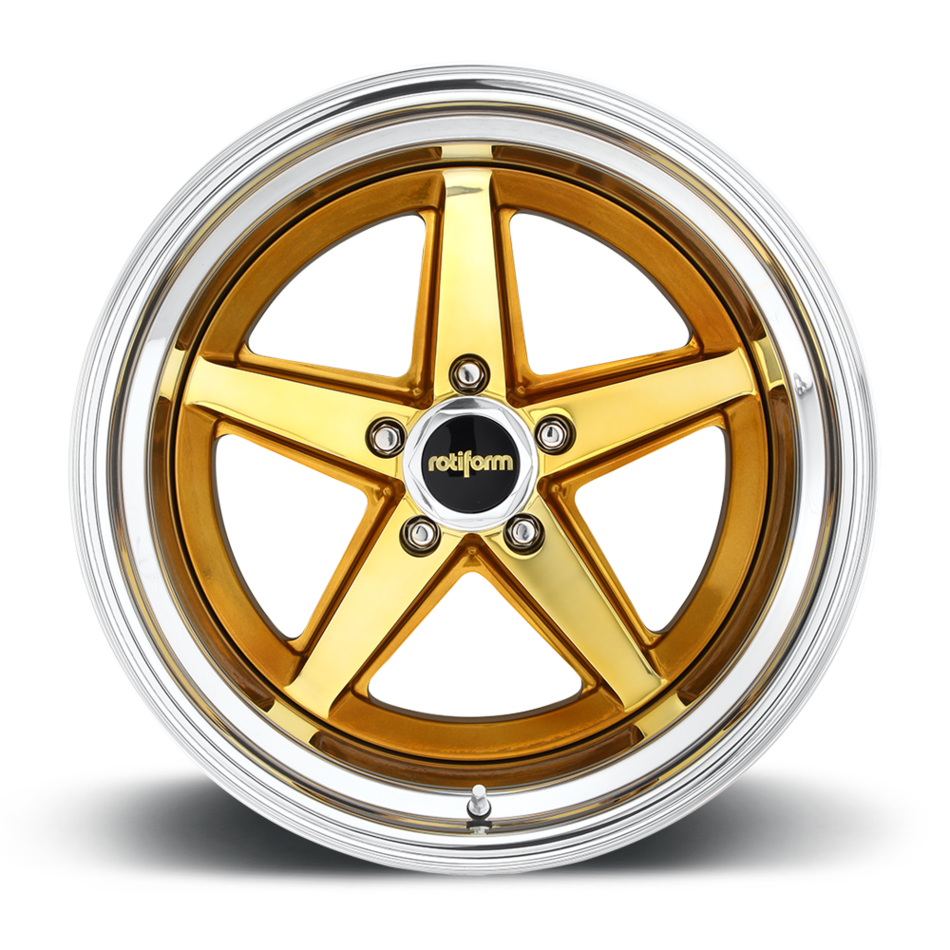 Rotiform 917 Forged Custom Tequila Sunrise with Gold over Polish Finish Wheels