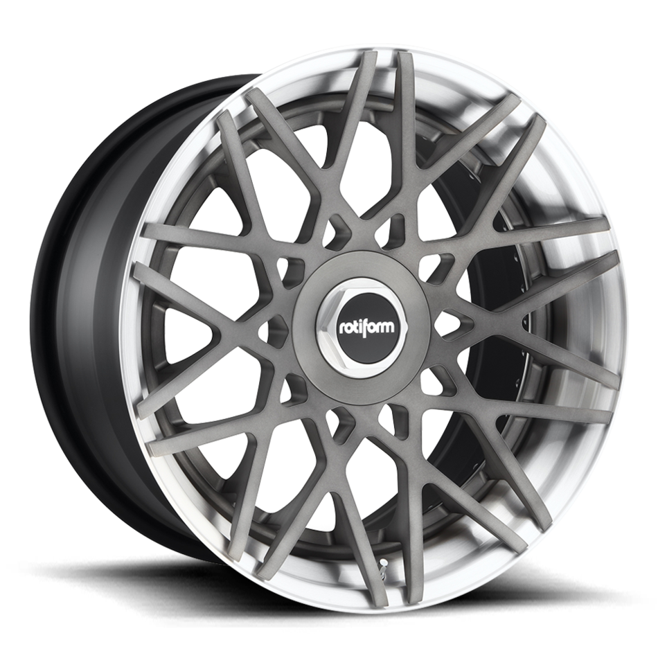 Rotiform BLQ Forged Custom Brushed Matte DDT Center with Brushed Gloss Clear Lip Finish Wheels