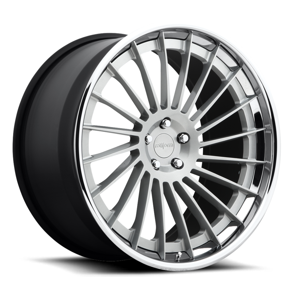 Rotiform IND-T Forged Custom Matte Silver Face with Polished Lip Finish Wheels
