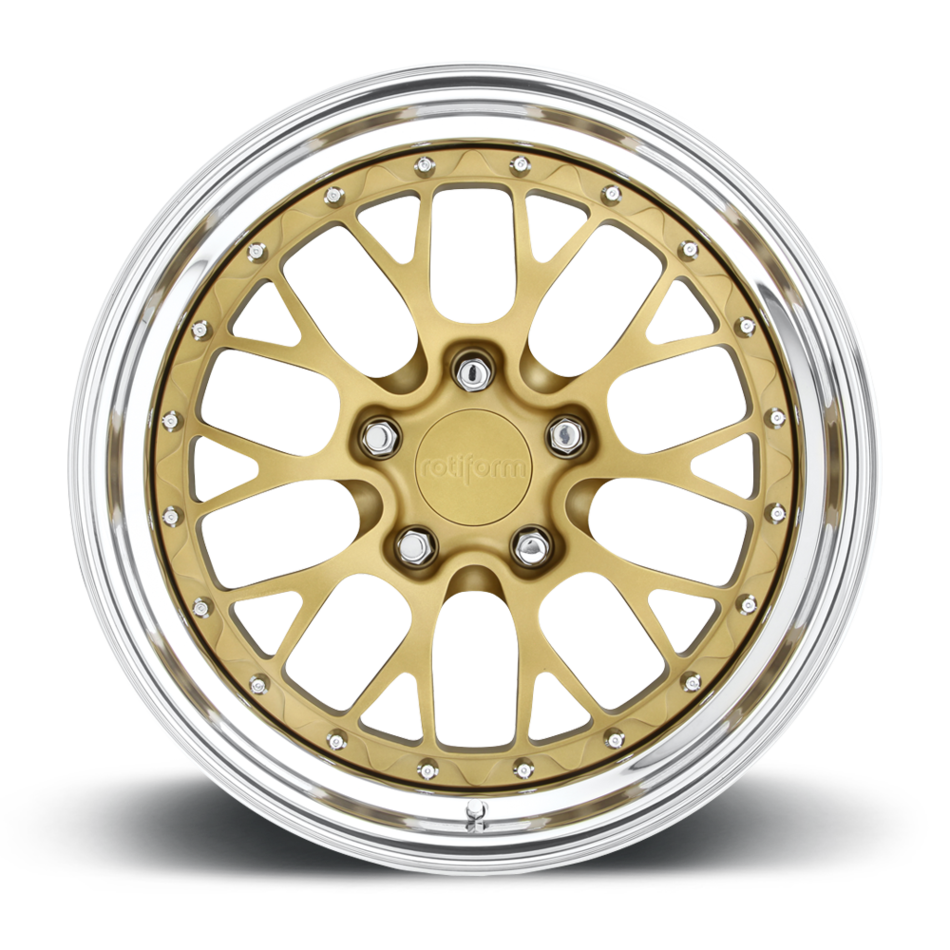 Rotiform LSR Forged Custom Matte Gold Center with Polished Lip Finish Wheels