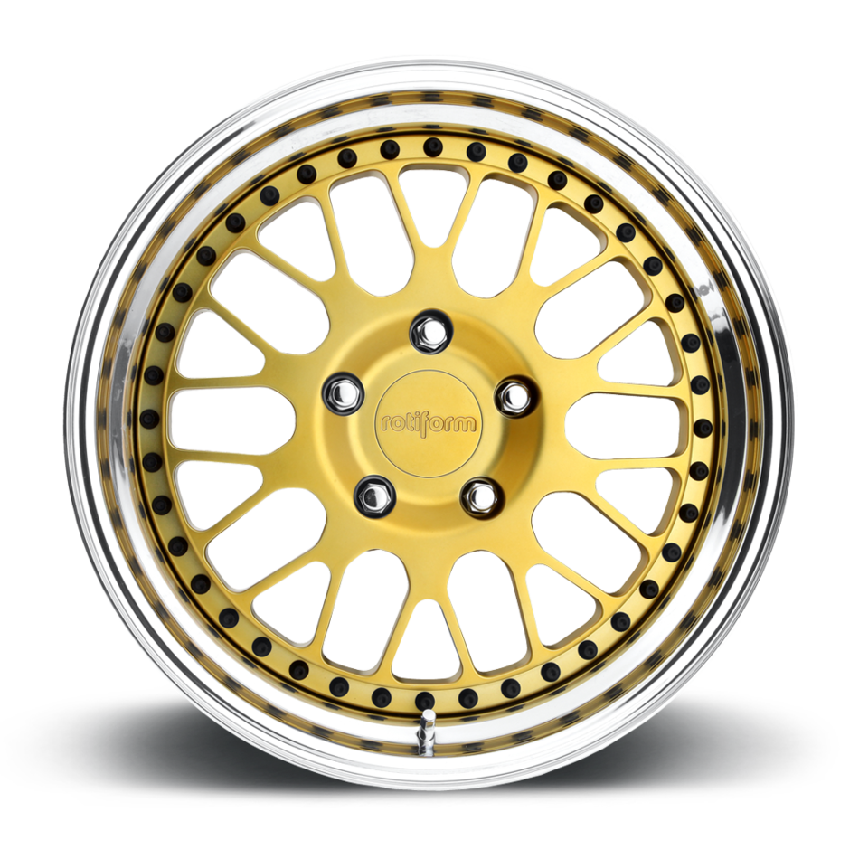 Rotiform LVS Forged Custom Matte Gold Face with Polished Lip Finish Wheels