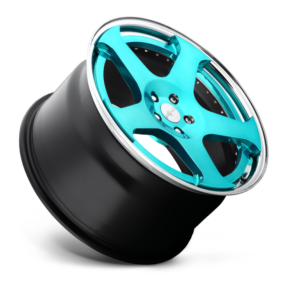 Rotiform NUE Forged Custom Candy Blue Face with Polished Lip Finish Wheels