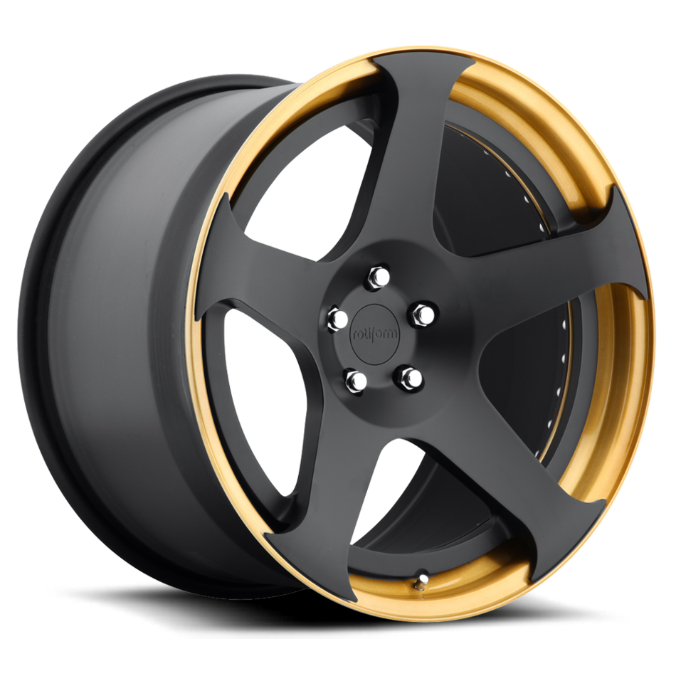 Rotiform NUE Forged Matte Black Face with Gold Lip Finish Wheels