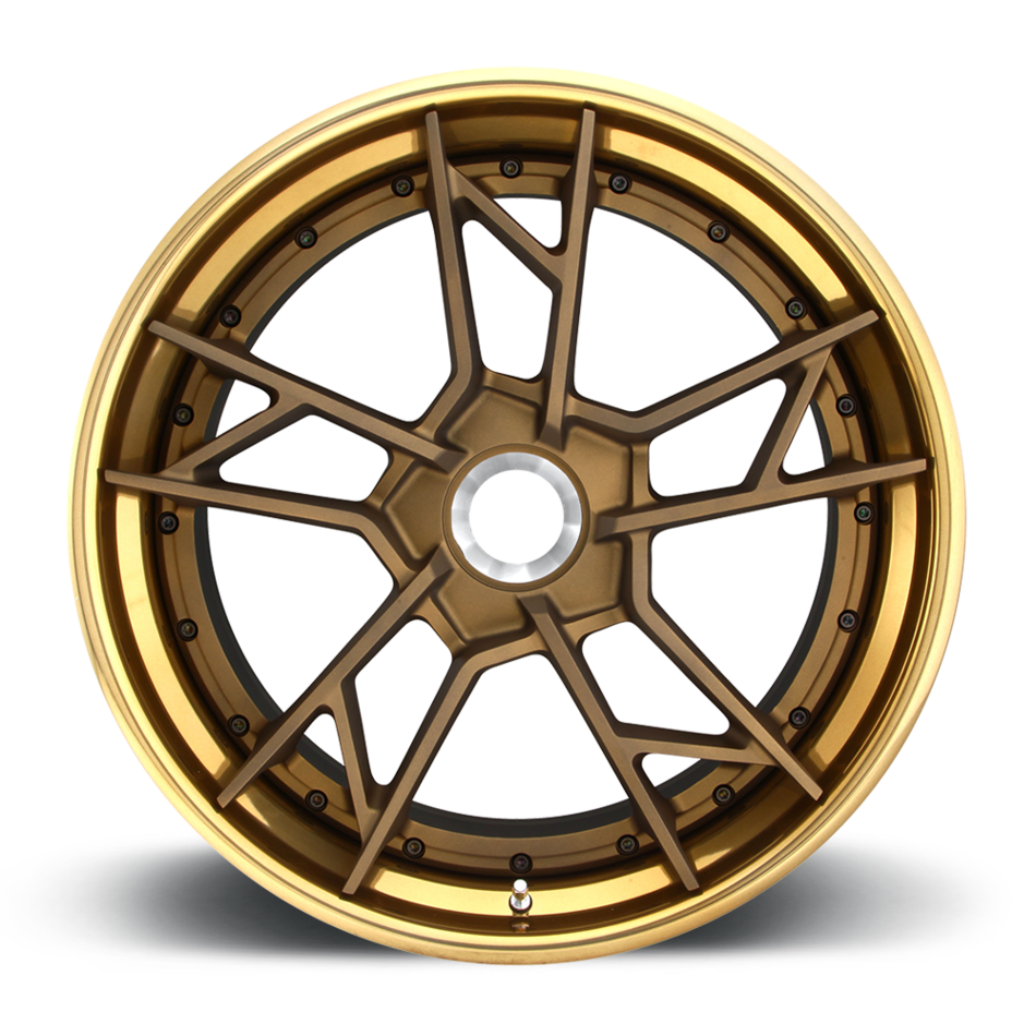 Rotiform SFO-T Forged Custom Matte Bronze with Polished Monaco Copper Lip Finish Wheels