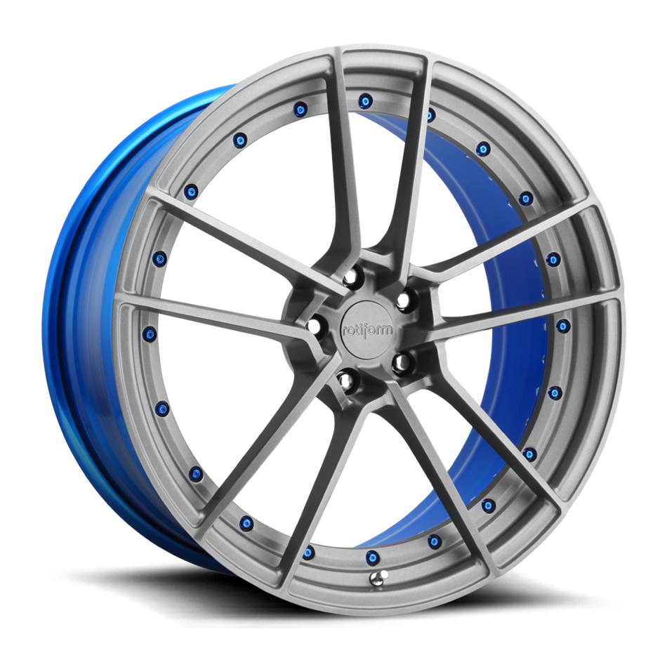 Rotiform SFO Forged Custom Matte Anthracite Face with Peek-A-Blue Inner and Hardware Finish Wheels