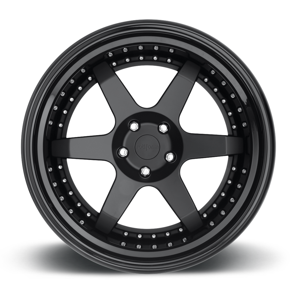 Rotiform SIX Forged Custom Matte Black Face with Gloss Black Lip Finish Wheels