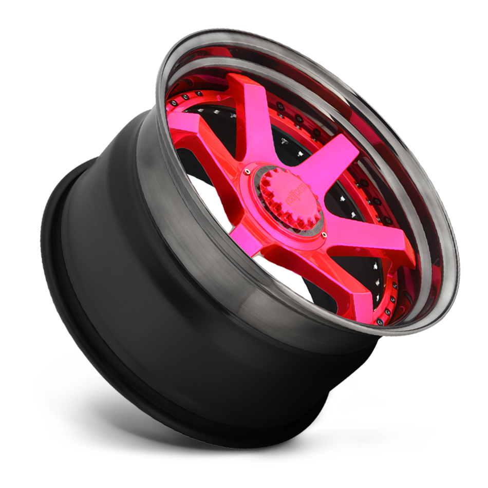 Rotiform SIX Forged Custom Candy Pink Face with Candy Black Lip Finish Wheels