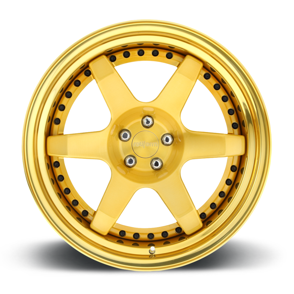 Rotiform SIX Forged Custom Brushed Gold Face with Hi Luster Gold Lip Finish Wheels
