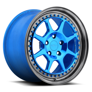 Rotiform SLC Forged Custom Polished Candy Blue Face with Gloss Black Lip Finish Wheels