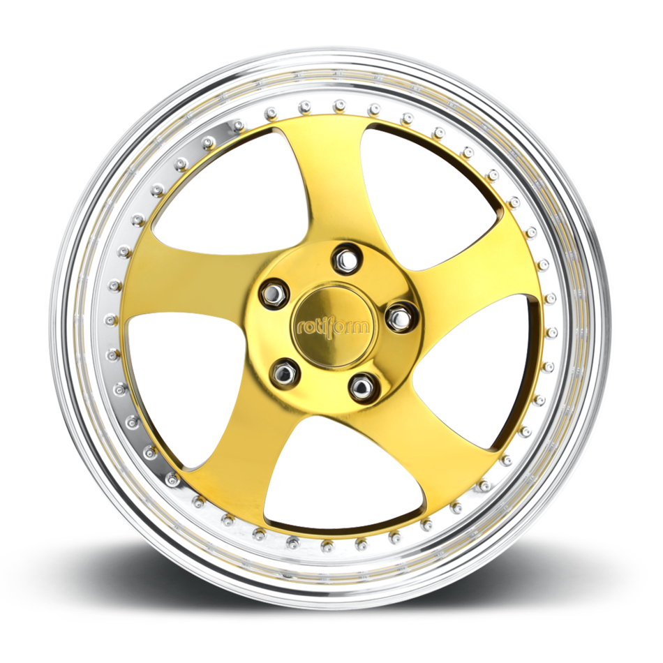 Rotiform TMB Forged Custom Gold with Polished Lip Finish Wheels