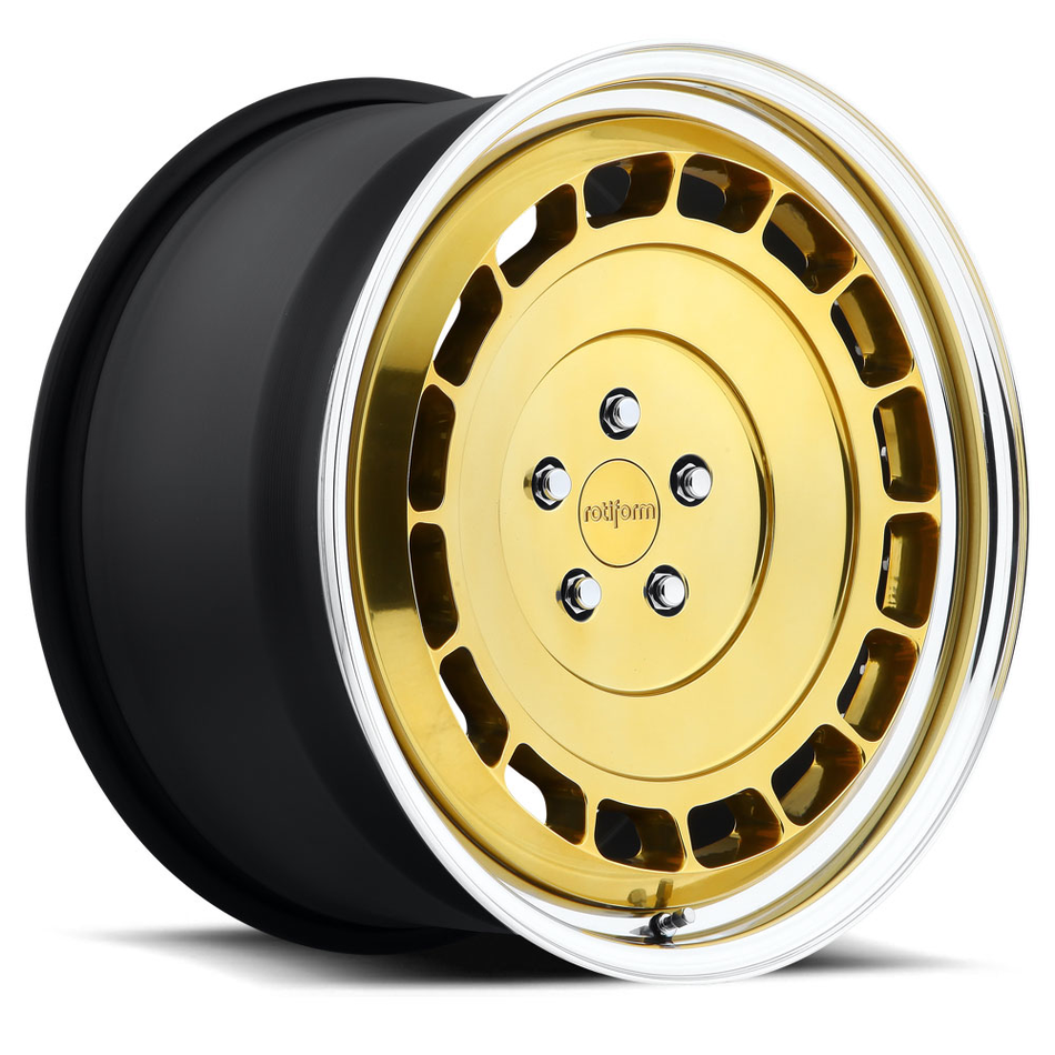 Rotiform VCE-T Forged Custom Hi Luster Gold Face with Polished Lip Finish Wheels