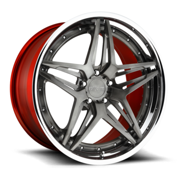Rotiform VDA Forged Custom Brushed DDT Face with Chrome Lip and Candy Red Inner Finish Wheels