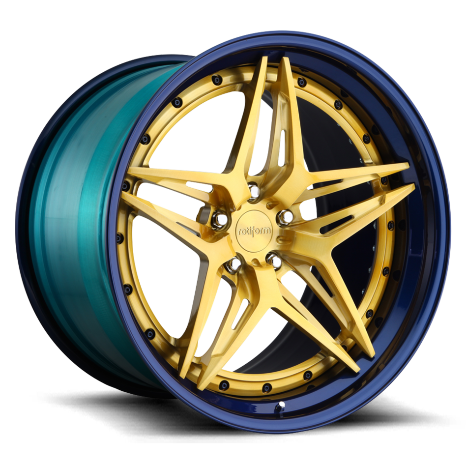Rotiform VDA Forged Custom Brushed Candy Gold Face with Nissan Ray Blue Lip Finish Wheels