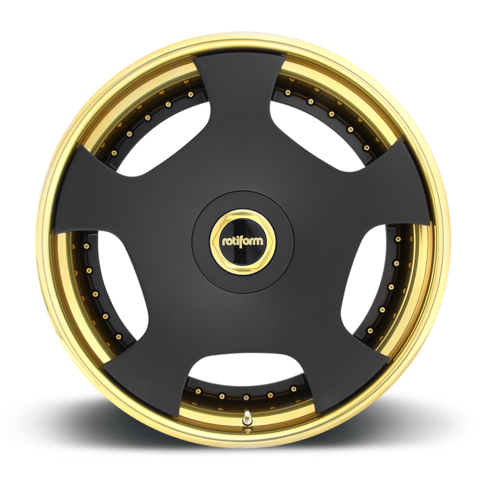 Rotiform WLD Forged Custom Matte Black Face with Trans Gold Lip Finish Wheels