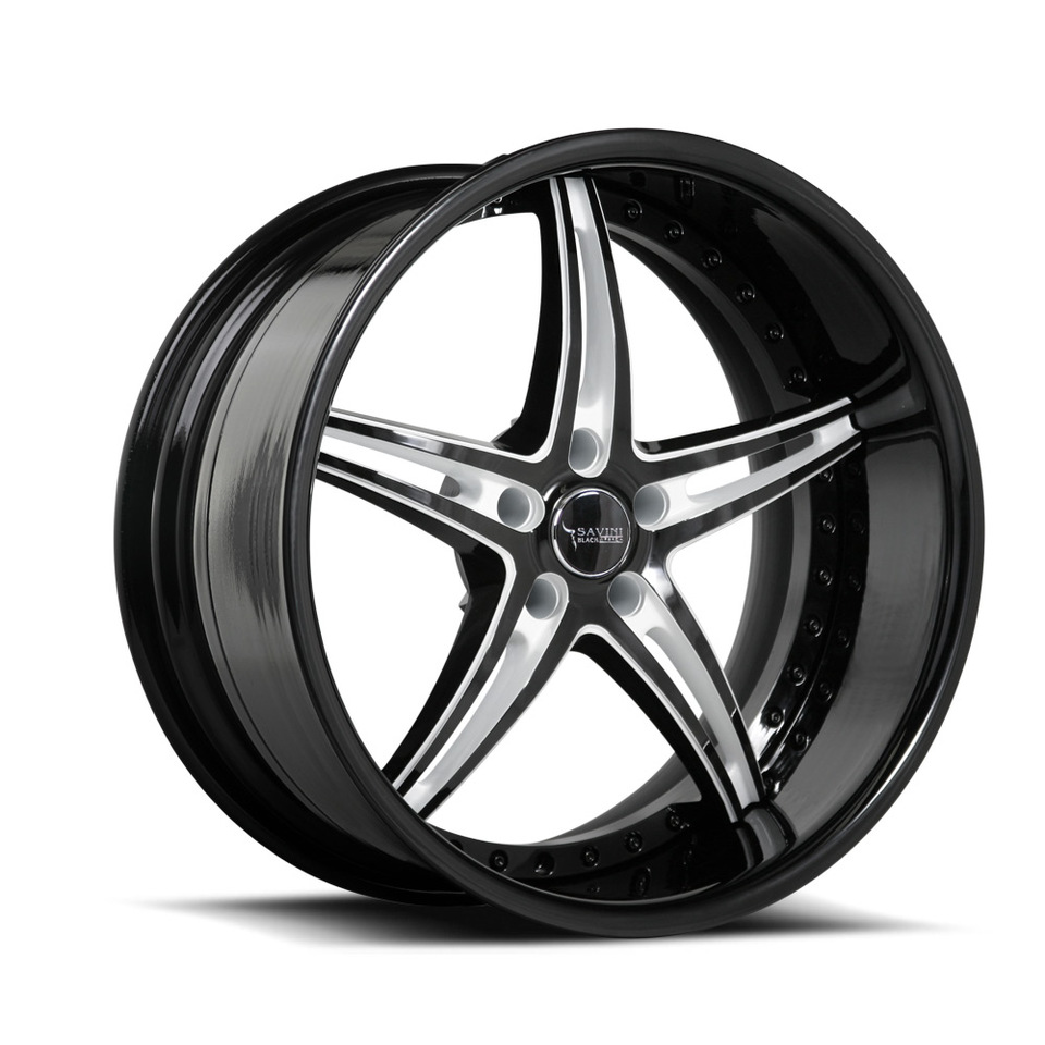 Savini Black Di Forza BS1 Black and White Wheels
