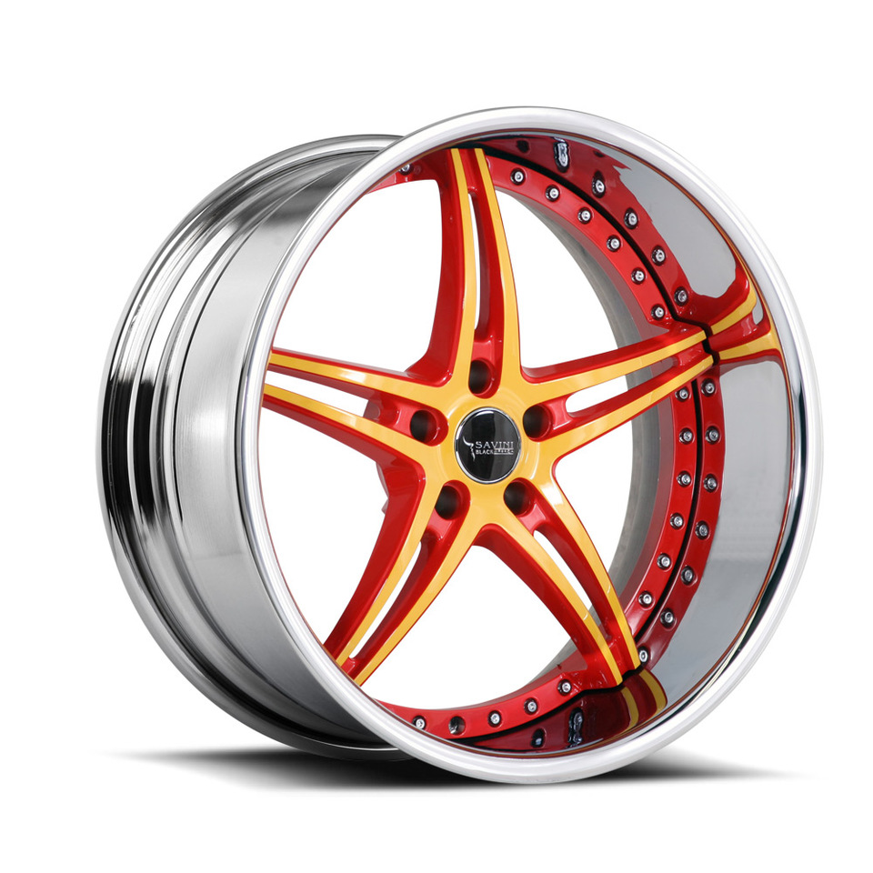 Savini Black Di Forza BS1 Red Yellow Chrome Lip Wheels