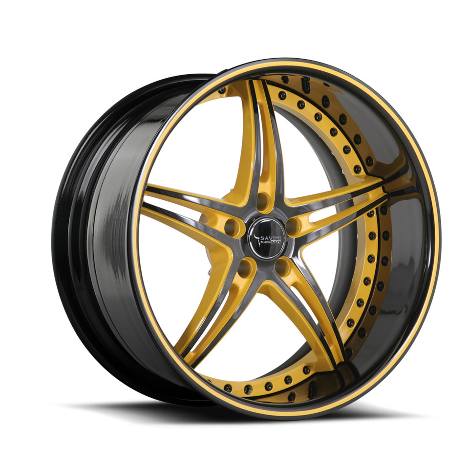 Savini Black Di Forza BS1 Black and Yellow Wheels