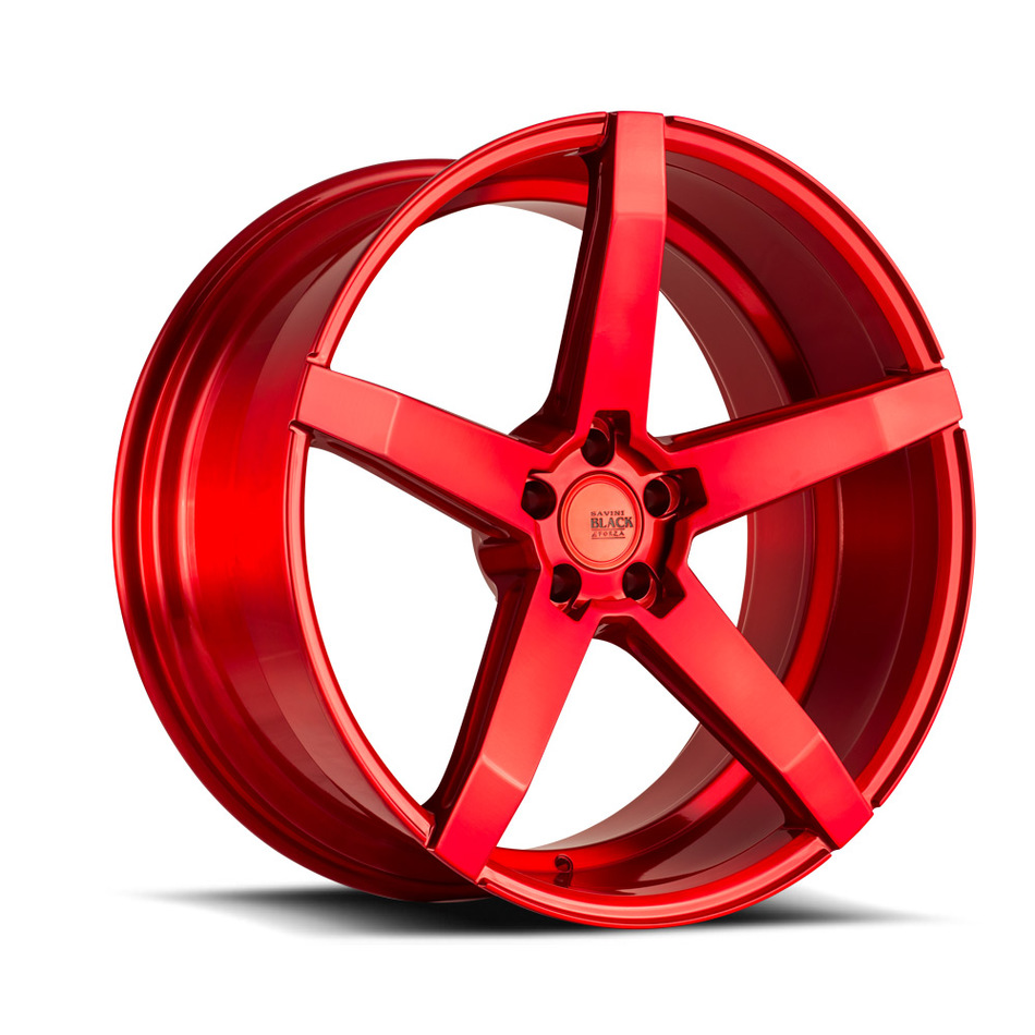 Savini Black di Forza BM11 Wheels - Brushed Red Custom Finish