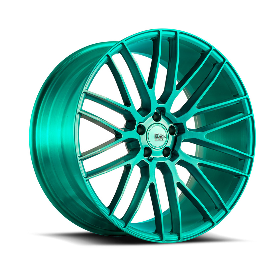 Savini Black di Forza BM13 Wheels - Brushed Teal Custom Finish