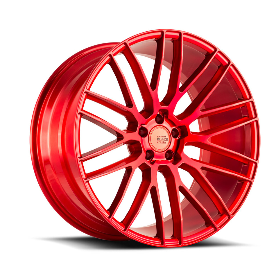 Savini Black di Forza BM13 Wheels - Brushed Red Custom Finish