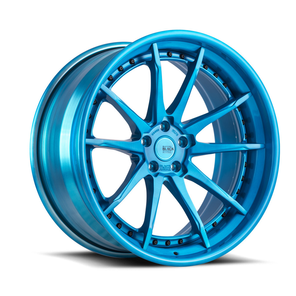 Savini Black di Forza BM14-L Forged Wheels - Brushed Blue Finish