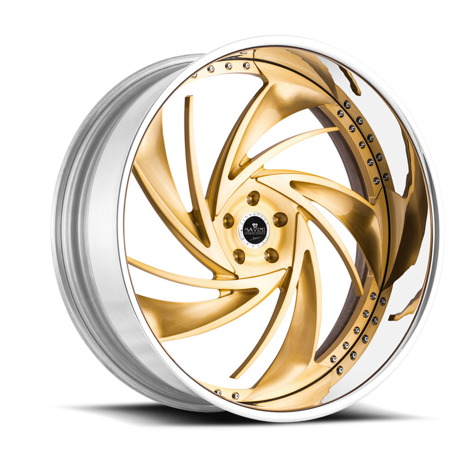 Savini Diamond Carpi Wheels - Brushed Gold Chrome Custom Finish