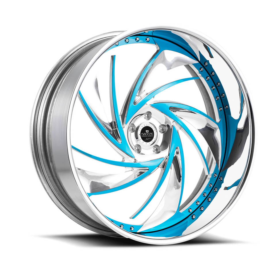 Savini Diamond Carpi Wheels - Blue Polished Chrome Custom Finish