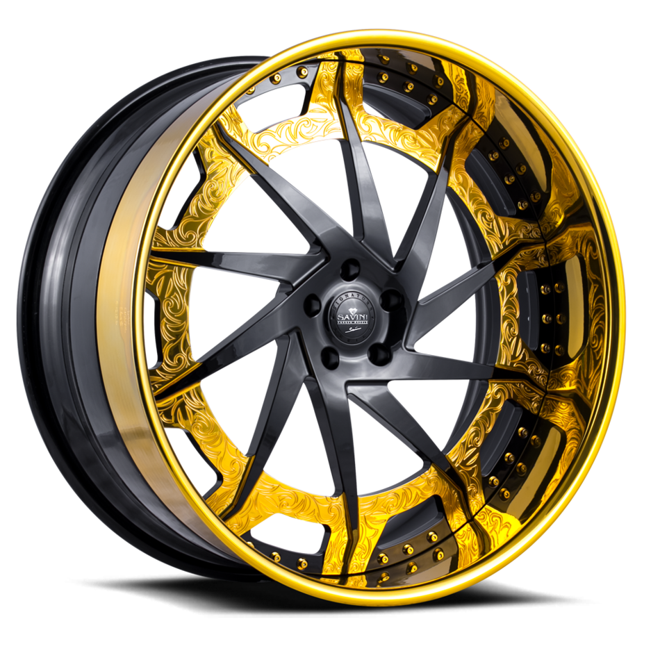 Savini Diamond Diamonte Wheels Custom Gloss Black and Gold with Gold Lip Finish