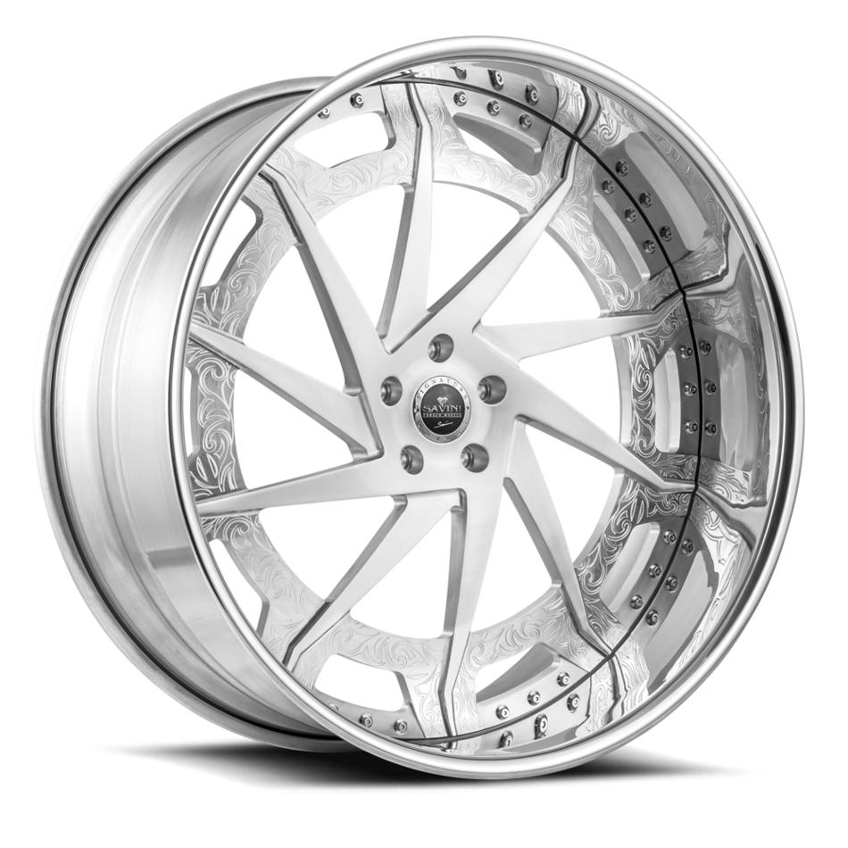 Savini Diamond Diamonte Wheels Custom Brushed with Polished Lip Finish