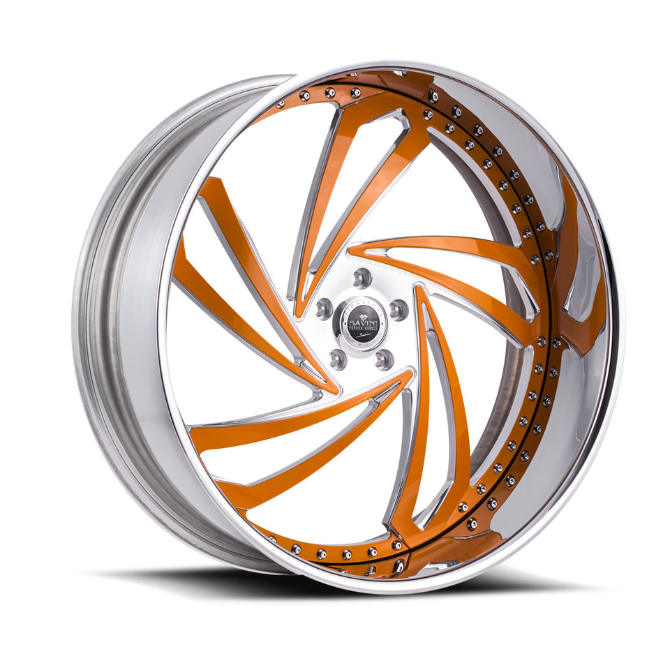 Savini Diamond Lazio Wheels - Brushed Orange Chrome Custom Finish