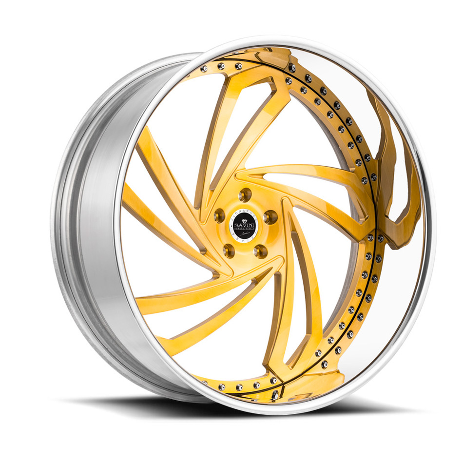 Savini Diamond Lazio Wheels - Brushed Gold Chrome Custom Finish