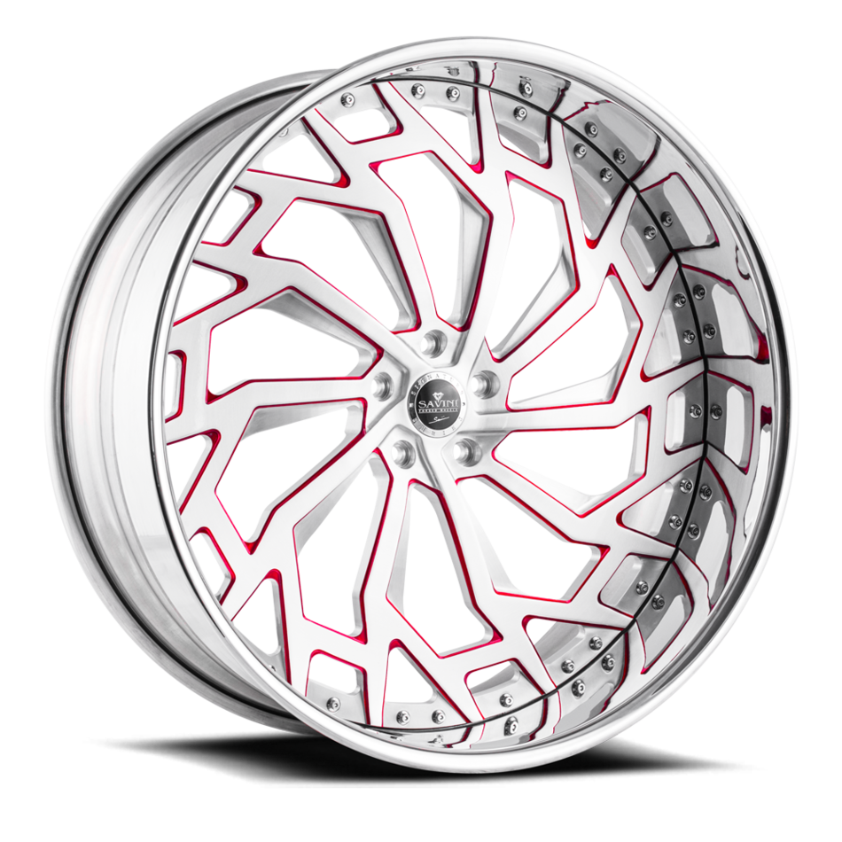 Savini Diamond Marche Wheels Custom Brushed and Red Accents with Polished Lip Finish