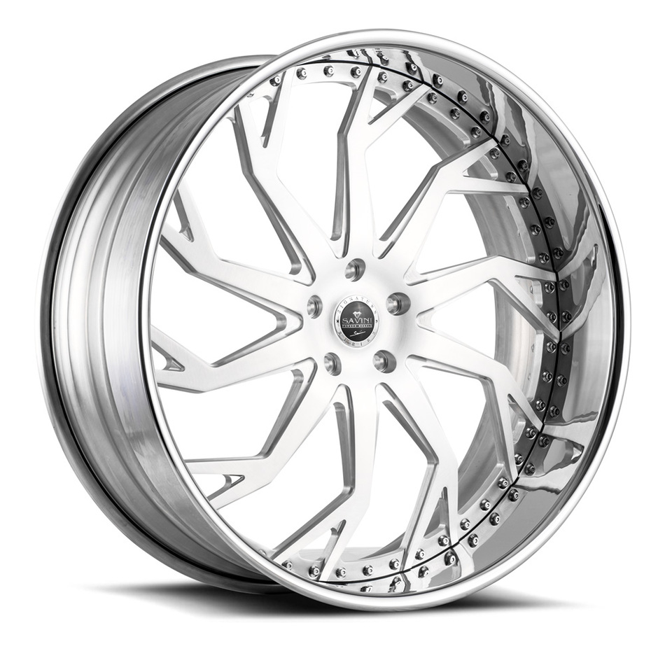 Savini Diamond SD13 Wheels - Brushed Center Chrome Lip Finish
