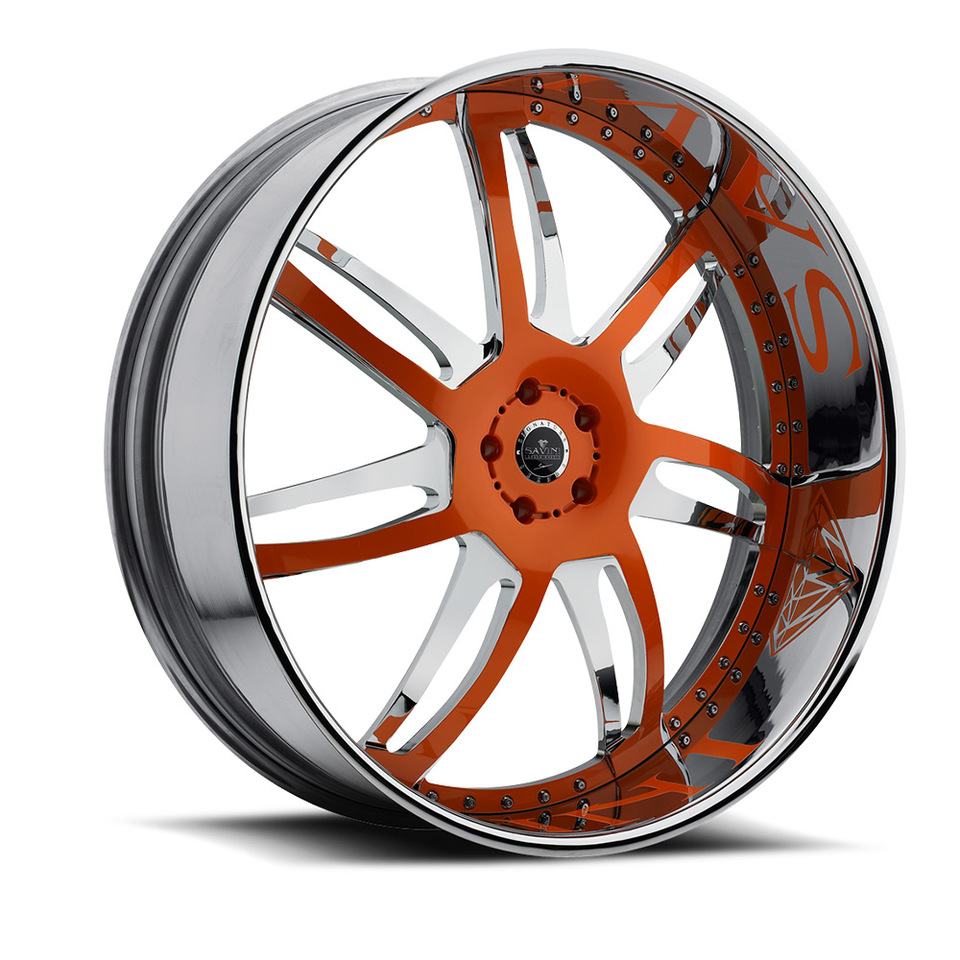 Savini Diamond Sesto Chrome and Orange Wheels