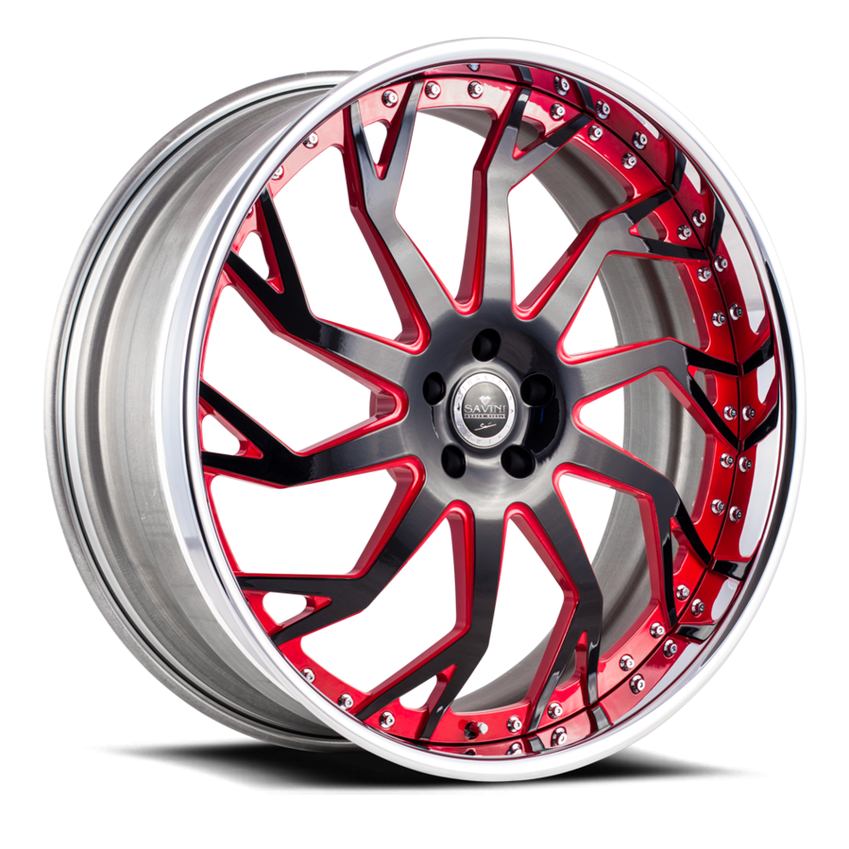 Savini Diamond Trento Wheels Custom Red and Black Accents with Polished Lip Finish