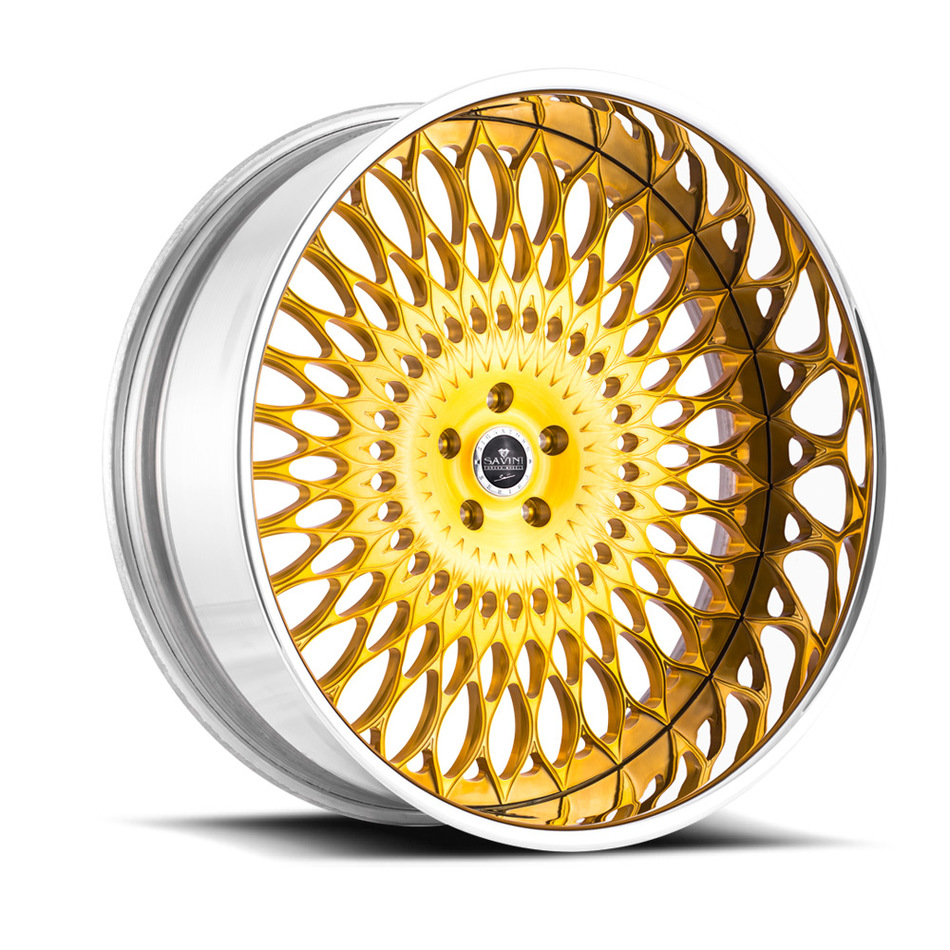 Savini Diamond Veneto Wheels - Brushed Gold Chrome Custom Finish