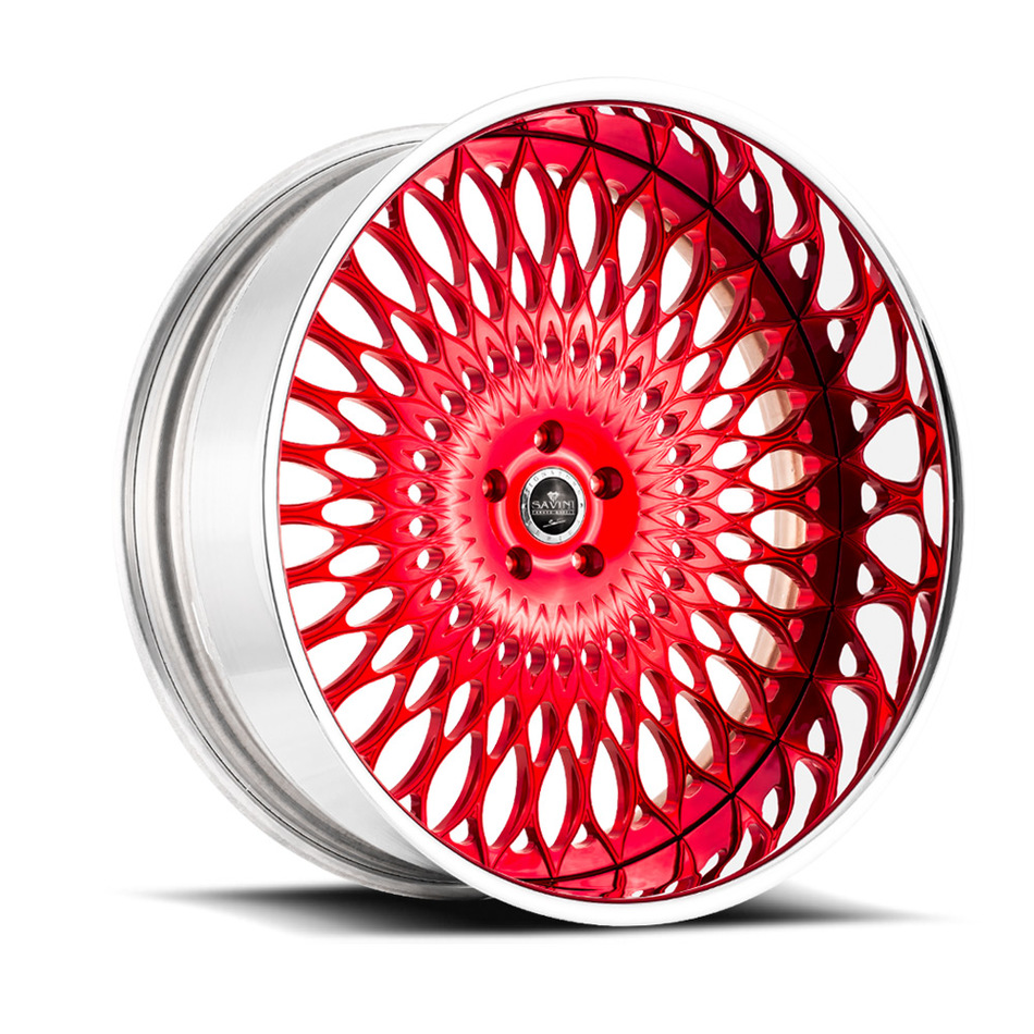 Savini Diamond Veneto Wheels - Brushed Red Chrome Custom Finish