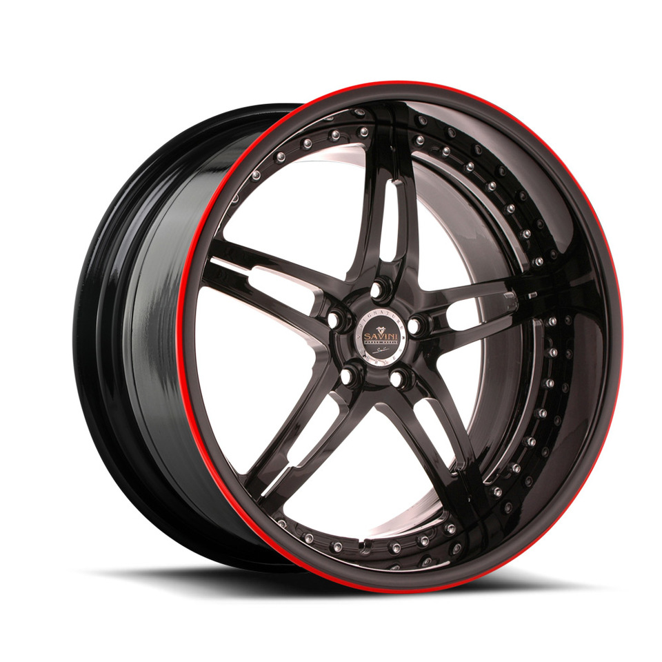 Savini Forged SV10 Black with Red Pinstripe Signature Wheels