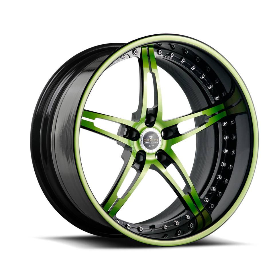 Savini Forged SV10 Green and Black Signature Wheels