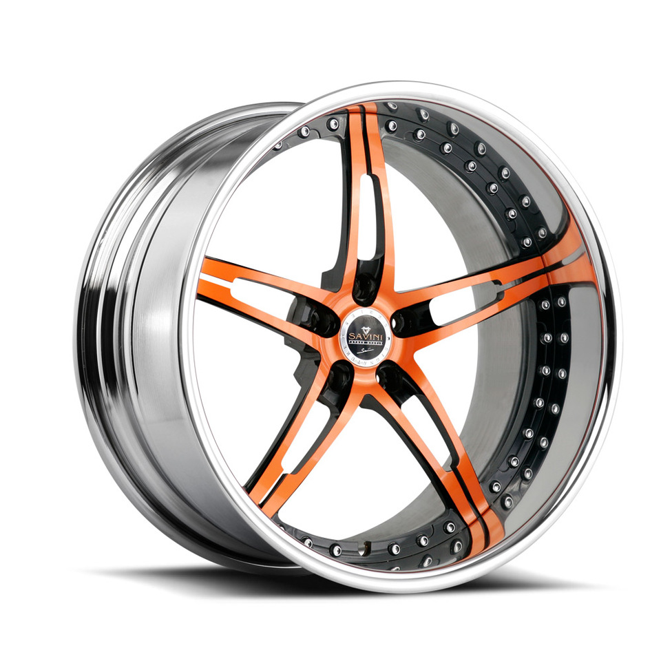 Savini Forged SV10 Orange and Black Signature Wheels