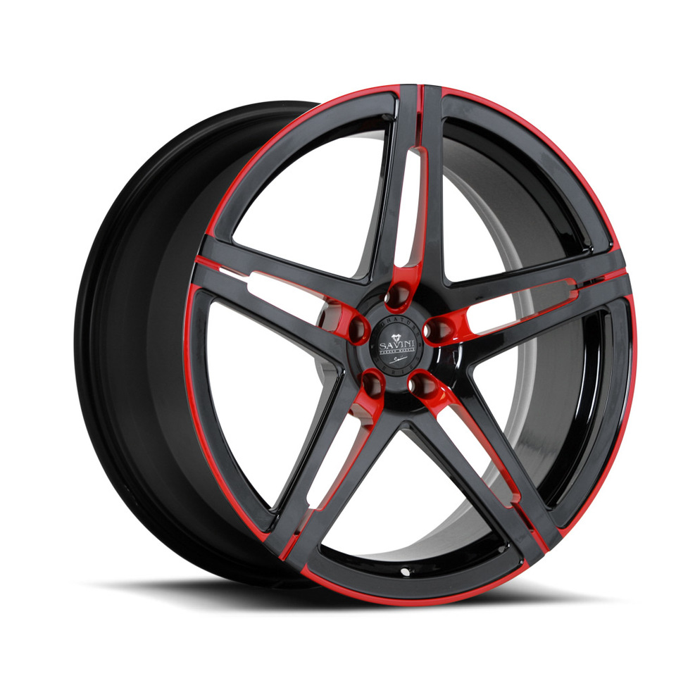 Savini Forged SV10m Black and Red Mono Wheels