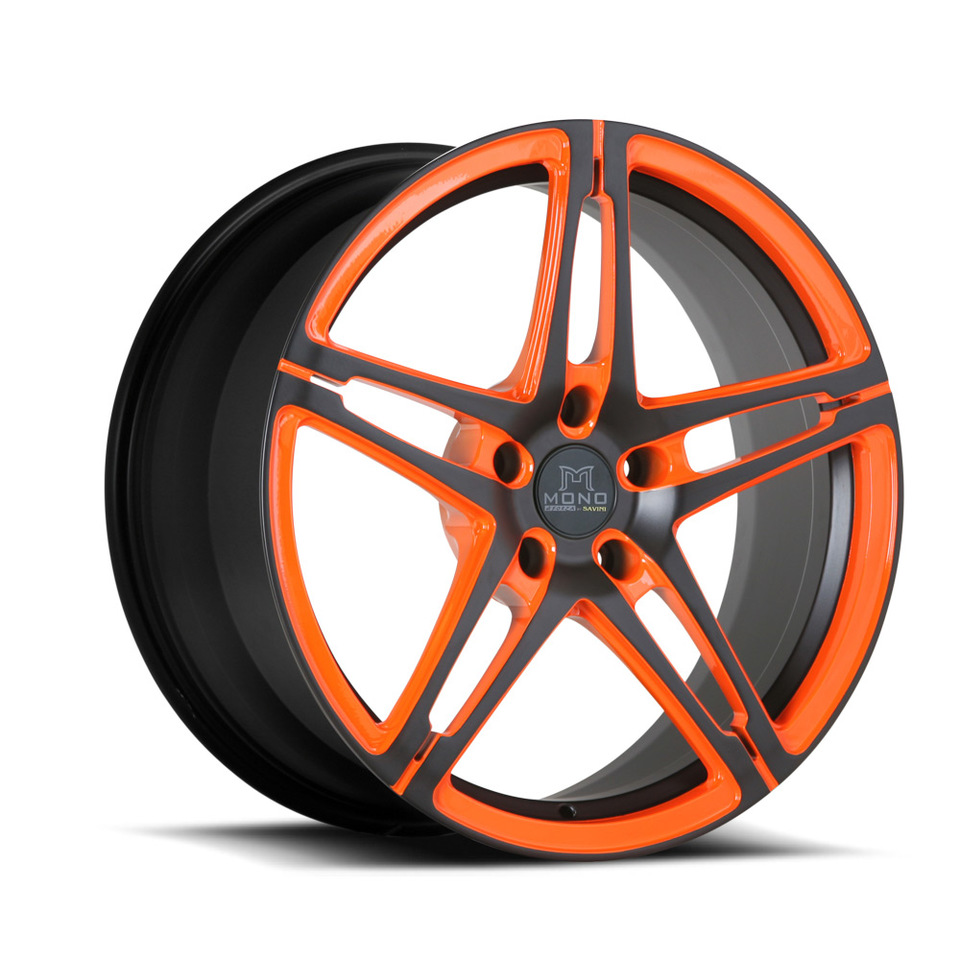 Savini Forged SV10m Orange and Black Mono Wheels