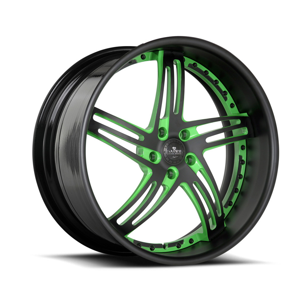 Savini Forged SV20s Black and Green XLT Wheels